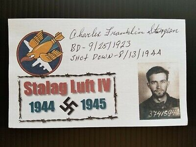 Ww2 Charles Franklin Sturgeon Stalag Luft Iv 8/13/44 Autographed 3X5 Index Card