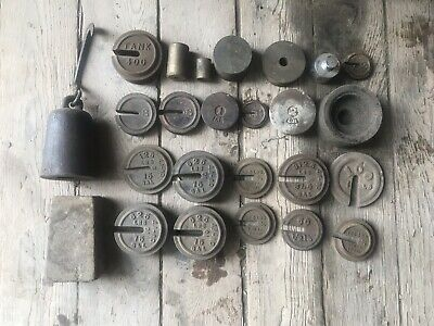 Lot Of 26 Antique Scale Weights Bar Beam Hanging Pharmacy Farm Brass Cu Ft Tank