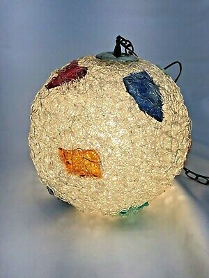 Vintage Lucite Hanging Swag Lights Mid Century Spaghetti Lamps MCM Globe