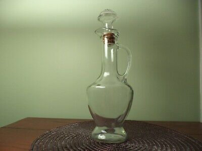 Vintage Glass Decanter shaped like large syrup pitcher with spout & handle Prett