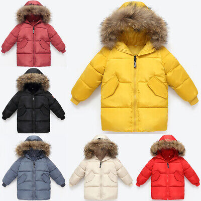 Kids Girls Boys Padded Hooded Jacket Winter Coat Thick Faux Fur Parka Warm Baby