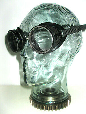 Antique Black Willson Goggles Safety Glasses Vtg Old Retro Rockabilly Halloween
