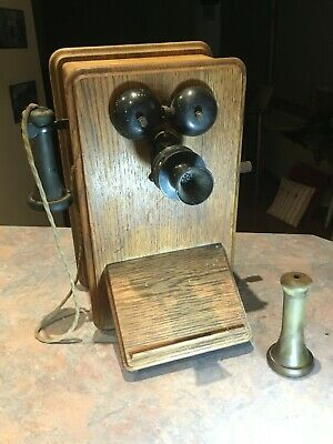 Antique wooden wall phone - Early 20th Century British Ericsson