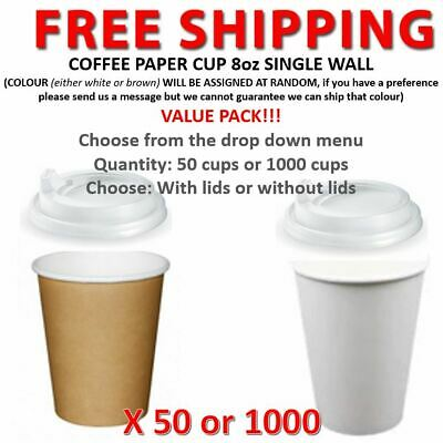 Coffee Paper Cups 8oz Single Wall Lids Takeaway 50 or 1000 cups VALUE PACK!!!