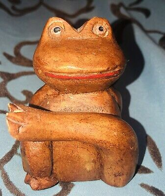 """Vintage Hand Carved Wooden Frog- 2 1/2"""" Tall Wood Statue Home Decor Figurine"""