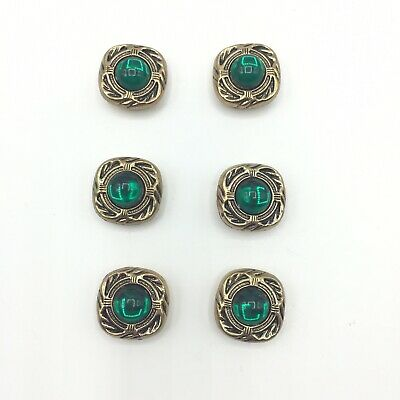 6 Vintage Gold Tone Green Cabochon Button Covers Square Shirt Jacket 3/4""