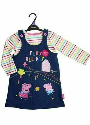 Peppa Pig Baby Girls Denim Blue Pinafore Dress & Top Outfit Set Age 12 18 24 Mth