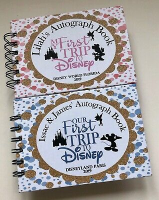 Personalised Disney Autograph Book PINK MINNIE or BLUE MICKEY CASTLE-A6 HARDBACK