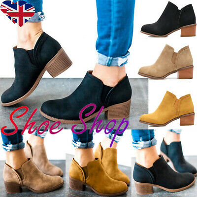 Women Ladies Flat Ankle Boots Low Heel Block Chunky Booties Casual Shoes Size4-7