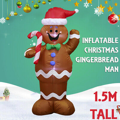 1.5M Inflatable Gingerbread Man LED Xmas Christmas Halloween House Garden Deco