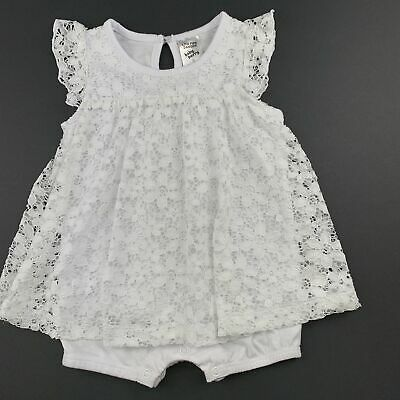 Girls size 0, Baby Berry, white lace romper dress, GUC