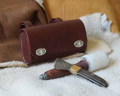 Small Brown Leather case attachable to bicycle or motorcycle Or Pen Case