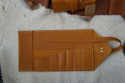 Tool roll for motorcycle, bicycle from thick 100% natural Leather in Bright tan