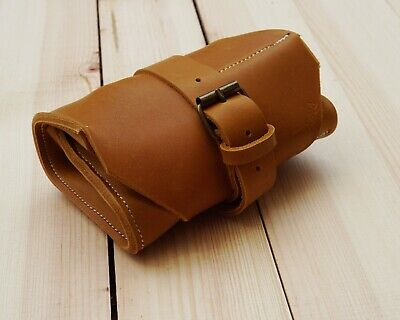 Mini Tool roll for motorcycle, bicycle from thick 100% natural Leather tan