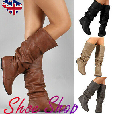 Women Ladies Leather Knee Calf High Slouch Boots Winter Wide Leg Flat Shoes Size