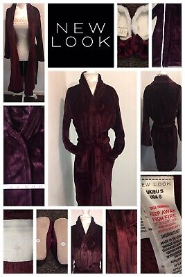 New Look Burgundy Dressing Gown Size 8 & Pair Of Burgundy Slippers Size 4