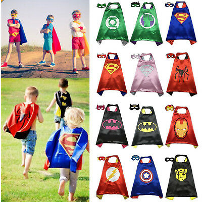 Kids Superhero Fancy Dress Cosplay Costume Cape Mask Set Party Halloween Outfit