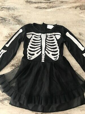 Baby Girl 2-3 Years Black Sceleton Halloween Costume Black Tutu Dress