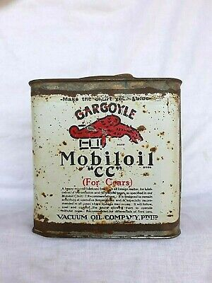 Early Gargoyle Mobil Vacuum Five Pound Gear Oil Grease Tin Can