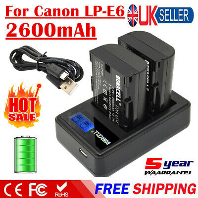 2X 2600mAh LP-E6 Battery + LCD Dual Charger For Canon EOS 5D Mark II 80D Camera
