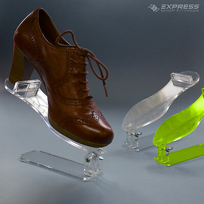 Acrylic Free Standing Counter Top Shoe Display Stand - Clear & Green