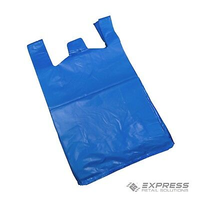 Large Jumbo Blue Strong Plastic Vest Style Shopping Carrier Bags