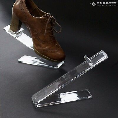Clear Acrylic Angled Free Standing Counter Top Shoe Display Stand