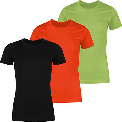 New Ladies T Shirt Plain Lady Fit Womens 100% Cotton Short Sleeve Casual Top Tee