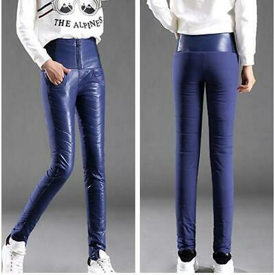 Winter Women Casual Warm Down Pants Puffer Slim Outdoor Thicken Leather Trousers