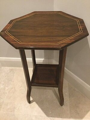 Lamp Occasional Table Antique EDWARDIAN Inlaid Mahogany Octagonal Two-Tier