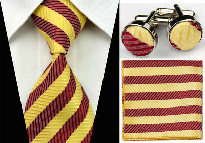 Mens Wedding Silk Tie Sets Wine Red Yellow Necktie Cufflinks Hanky Ties Set Men