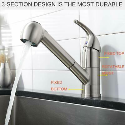 Comllen Commercial Stainless Steel Single Handle Pull Out Kitchen Faucet