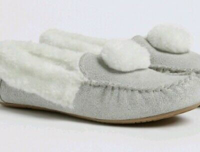 BNWT M&S Leather Upper Moccasin Slippers Older Girls Size 6