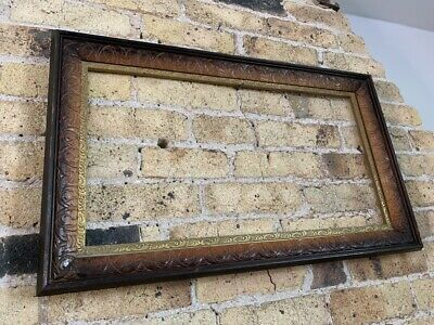 Antique / Vintage Italian Carved Wooden Picture Frame with Gilt Slips, Medium