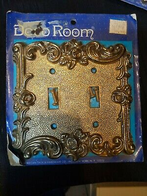 Vintage Deco Room Double Switch Plate  Antique Brass Provincial nos