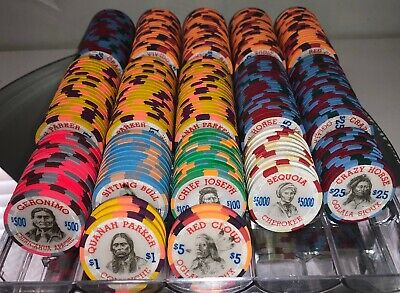 NobleSpirit Fantasy Indian Paulson Poker Chip Set-255 Chips- SEQUOIA GERONIMO