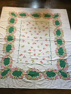 "Vintage Heavy Cotton Floral Tablecloth 57"" x 65"" Rectangular Green Pink Red WOW"