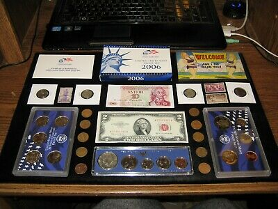 Junk Drawer Coin Lot 1967 SILVER MINT SET Two Dollar Red Seal Proof Coins stamps