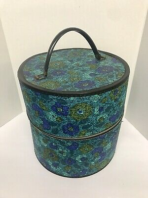 "HUGE Vintage 60's HAT BOX Ditsy Blue Flowers W/Pink Floral Liner Zipper 13"" TALL"