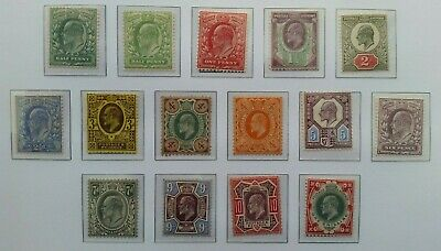 British Stamps Sg215-314  Set Of 15 Stamps Edward V11 1902-1910 Mounted Mint