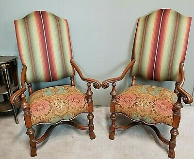 Pair of Antique 1930's French Louis XIV Style Carved Throne Armchairs