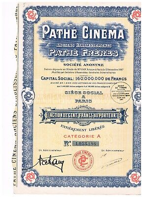 Pathe Cinema (France) Share Certificate 1930: Pathe Freres, Paris: Vf Condition
