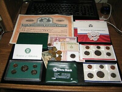 Junk Drawer Coin Lot 1997 Proof Set Lot RAILROAD STOCK 1987 Mint Set Old Coins