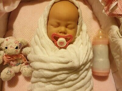 "Beautiful Vintage 1984 Sleeping Newborn Baby Doll ~ 21"" ~ Berjusa with Dummy"