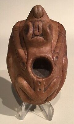 Taino Stone Frog Like  Lime Vessel With Full Image Base. PreColumbian