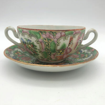Antique Rose Medallion Cream Soup Bowl and Saucer Hand Painted Marked China
