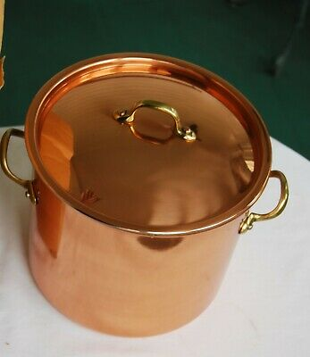 Vintage Copper 4 Quart Tin Lined Stock Pot with Brass Handles by Copral Portugal