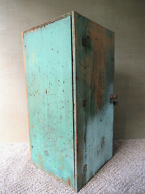 "Antique Wall Cupboard Old Blue Green Paint Poplar Wood Primitive 25"" x 12"" x 12"""