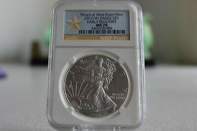 2012-W American Silver Eagle NGC MS 70 Struck At West Point EARLY RELEASES