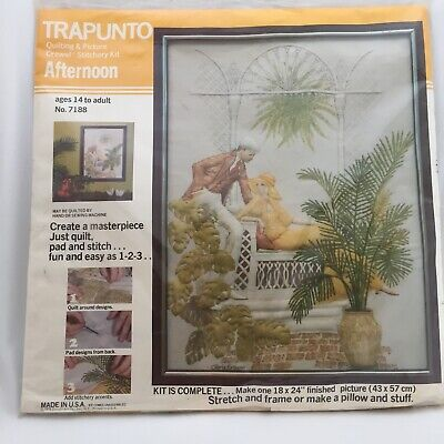 NIP Vintage 1976 Trapunto Quilting Picture Crewel Stitch Kit Afternoon Delight